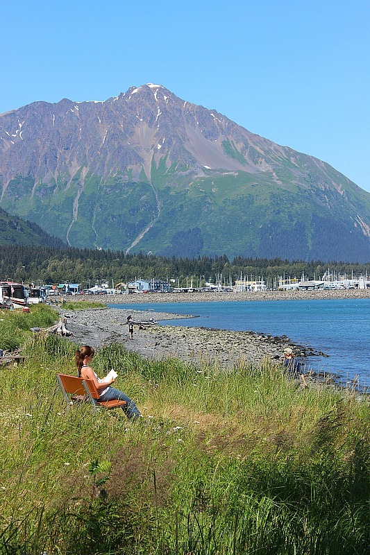 Walking around the harbour in Seward, Alaska