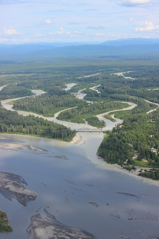 Flying over the Talkeetna river