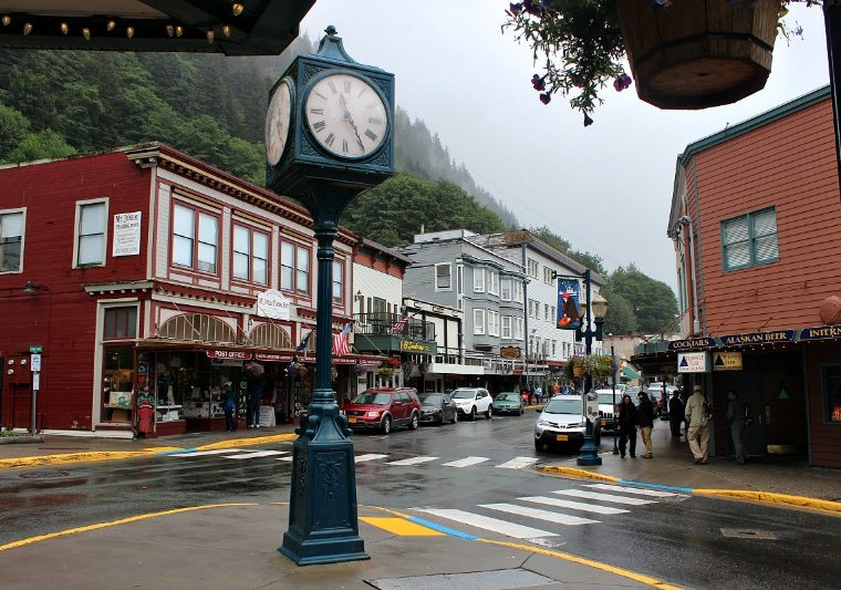 Historic downtown Juneau in the rain