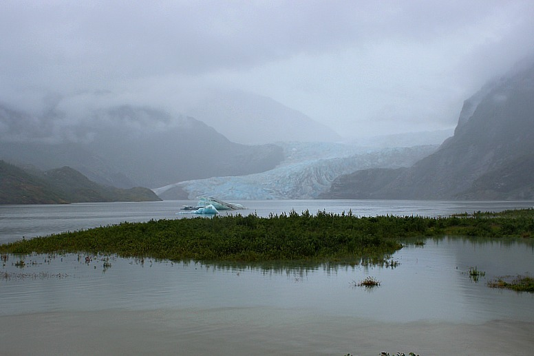 Mendenhall Glacier Alaska in the rain