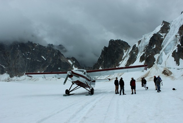 Our plane on the Pika Glacier - part of my Denali Flightseeing Tour