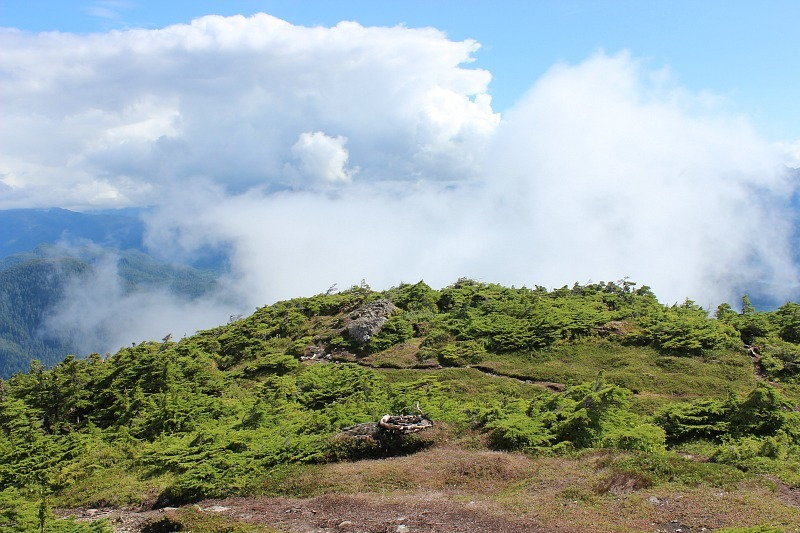 Clouds swirling around Mount Verstovia, hiking Sitka