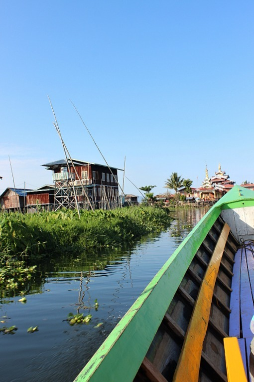 Cruising the backwaters of Inle Lake during month six of digital nomad life