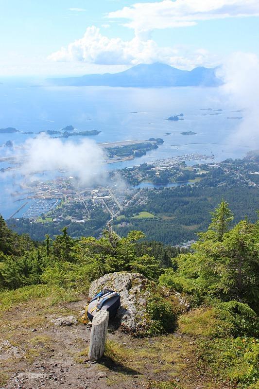 Mount Verstovia summit view over Sitka, Alaska