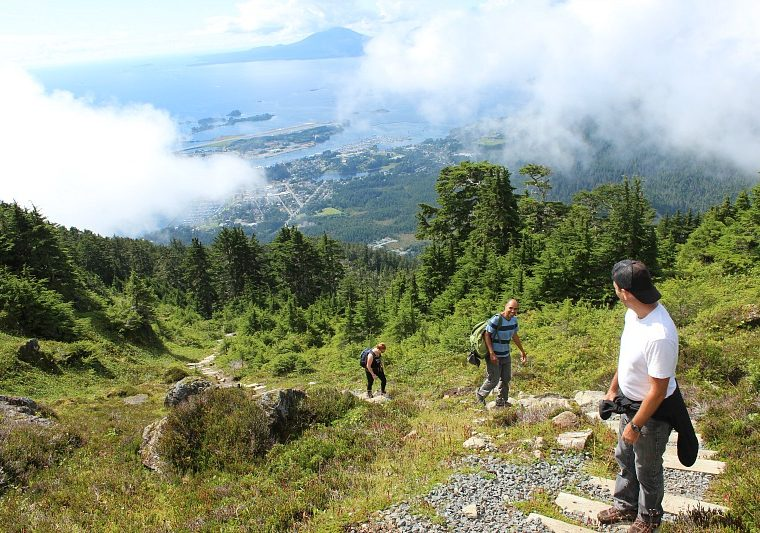 Nearing the top of Mount Verstovia near Sitka, Alaska