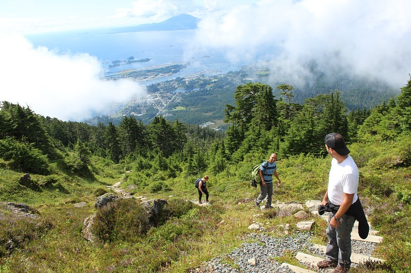 Nearing the top of Mount Verstovia Sitka hiking trail in Alaska