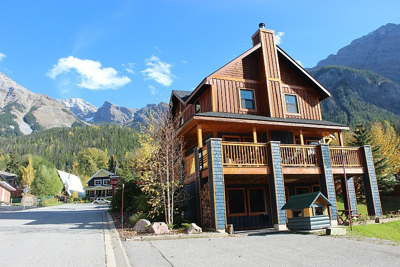 Outside Fireweed Hostel, the only hostel in Field, BC