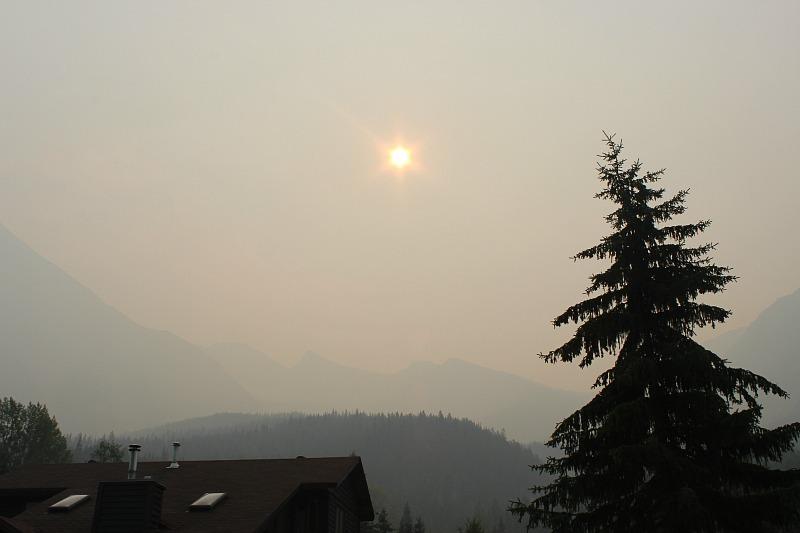 Smoky skies in Field, British Columbia