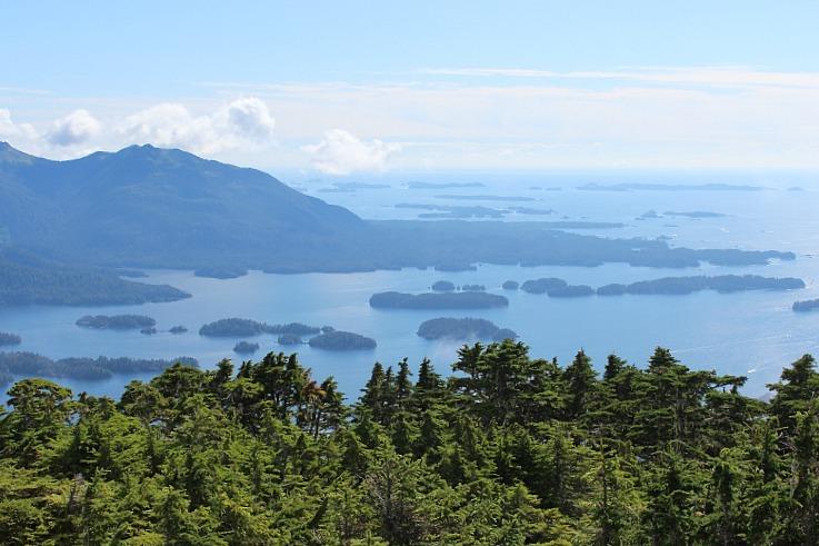 Stunning Sitka Sound from the Stika hiking trail up Mount Verstovia in Alaska