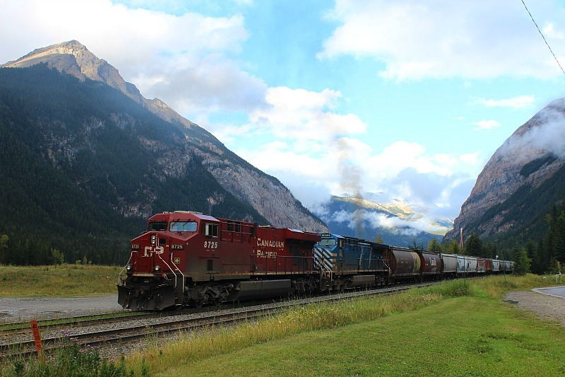 Train coming through Field, BC