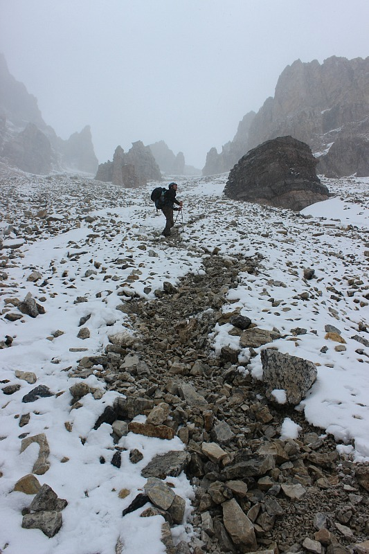 Heading up the scree field to Abbot Pass Hut