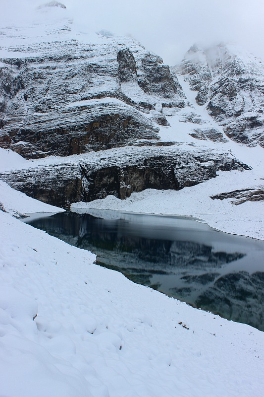Lake Oesa after snow fall on the way back from Abbot Pass Hut