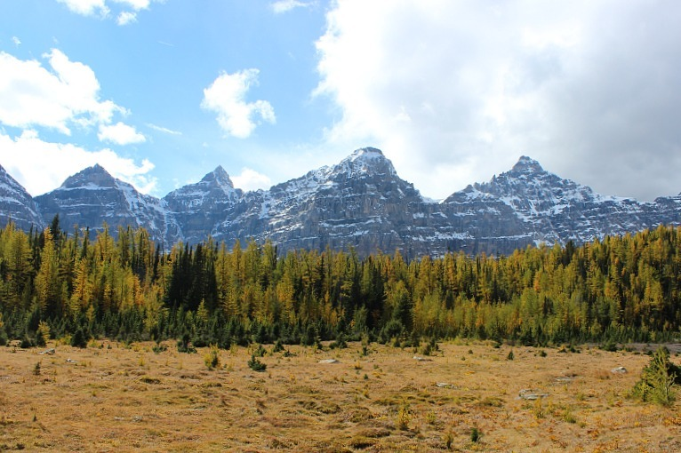 Ten Peaks from the Larch Valley hike - one of the best fall hikes in Banff National Park