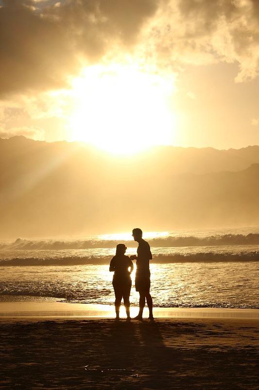 Beautiful Hanalei sunset on Kauai, the Garden Island