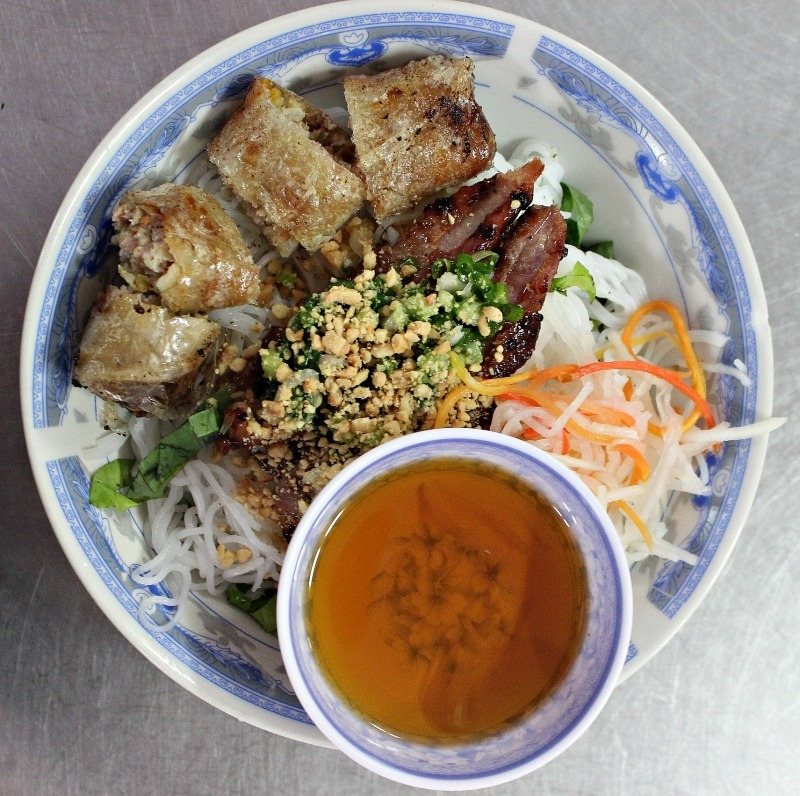 Eating Bun Thit Nuong Cha Gio in Ho Chi Minh during month seven of Digital Nomad Life
