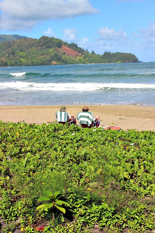 Sunny day at Hanalei Beach on Kauai, the Garden Island