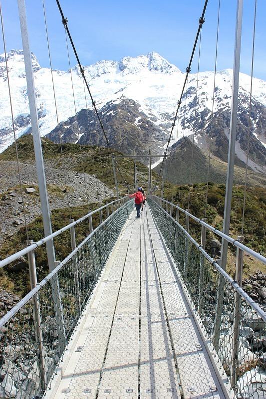 Bridge in Aoraki Mount Cook National Park in the Hooker Valley