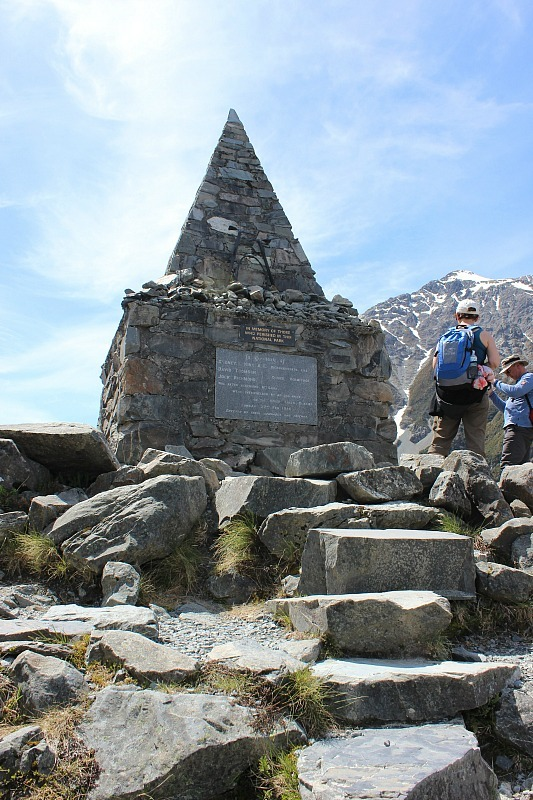 Mount Cook Climbers Memorial at the start of the Hooker Valley Track