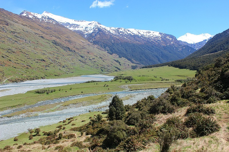 River and glacier view in Mount Aspiring National Park