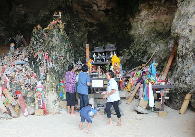 Haad Phra Nang beach penis shrine near Railay Beach
