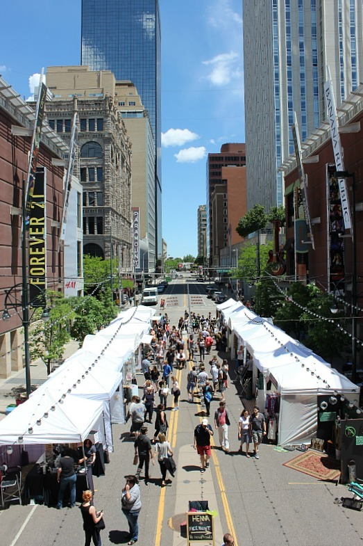 Market in downtown Denver during month 12 of digital nomad life