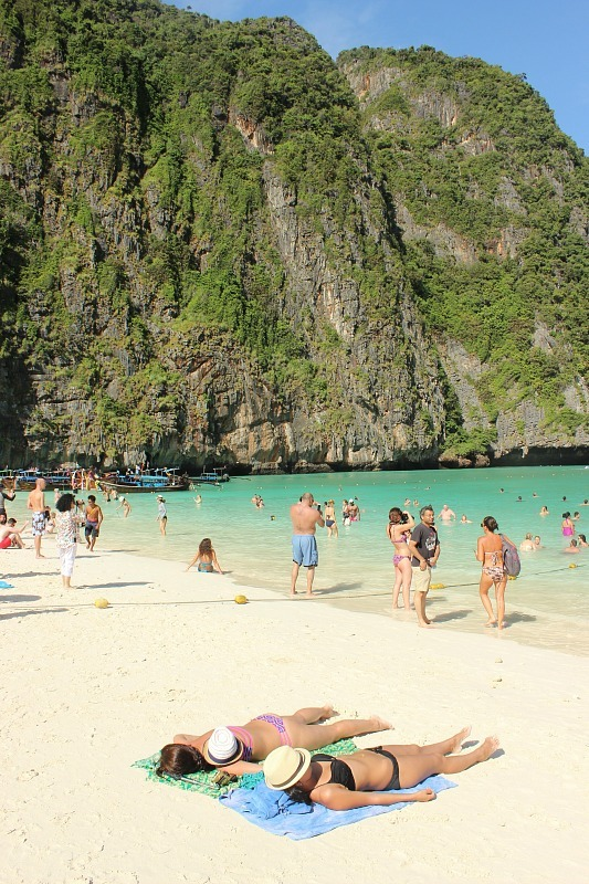 Sunbaking at Maya Bay during our Koh Phi Phi Island Tour