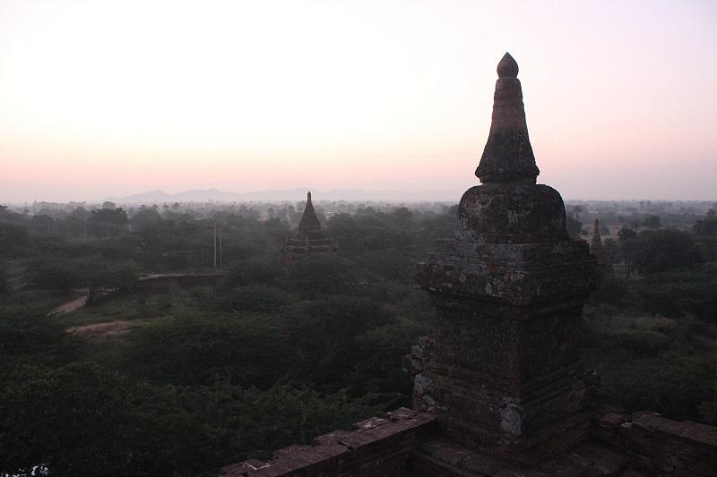 Bagan plain and pagodas predawn
