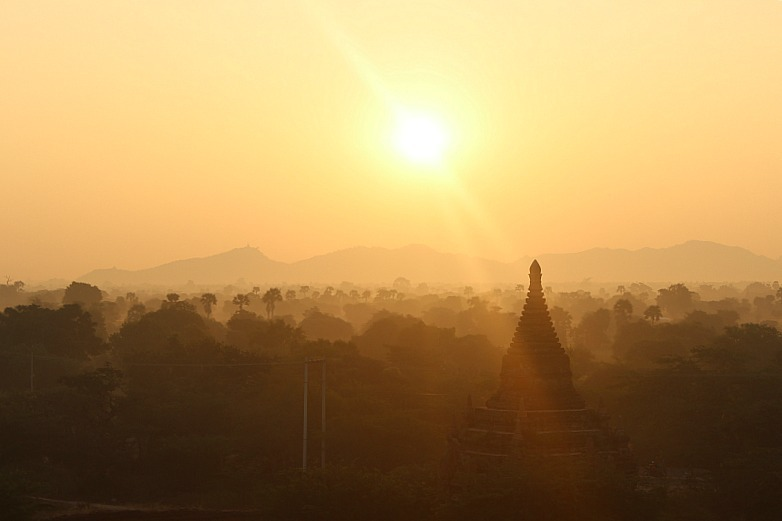 Sunrise over Bagan pagodas