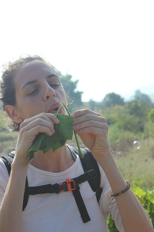 Blowing bubbles during our three days trekking Kalaw to Inle Lake