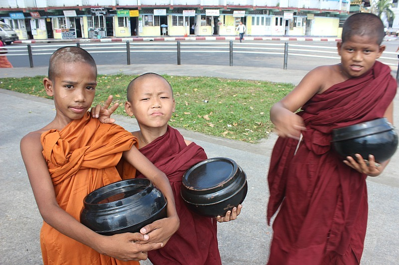 Novice monks in Yangon Myanmar