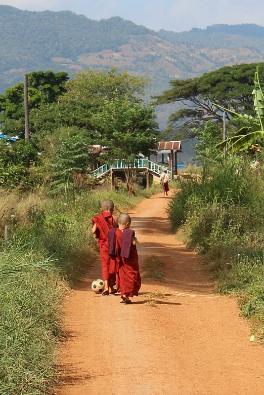 Novice monks playing ball - seen while trekking from Kalaw to Inle Lake