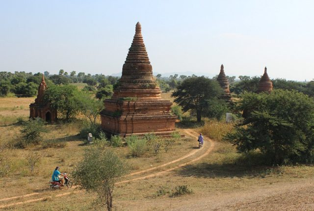 Riding back roads past Bagan pagodas