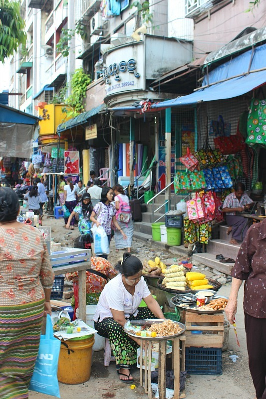 Street vendors are a big provider of food in Yangon