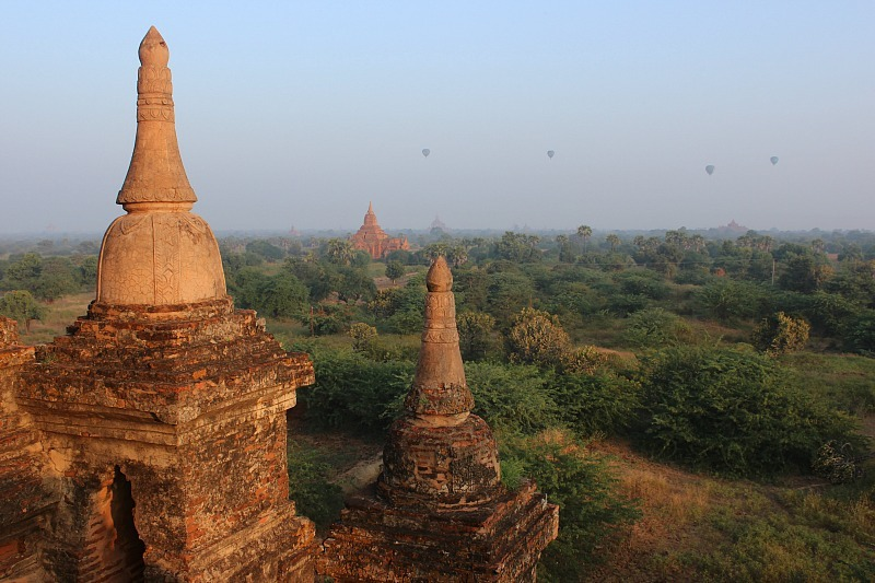 Sunrise over Bagan pagodas