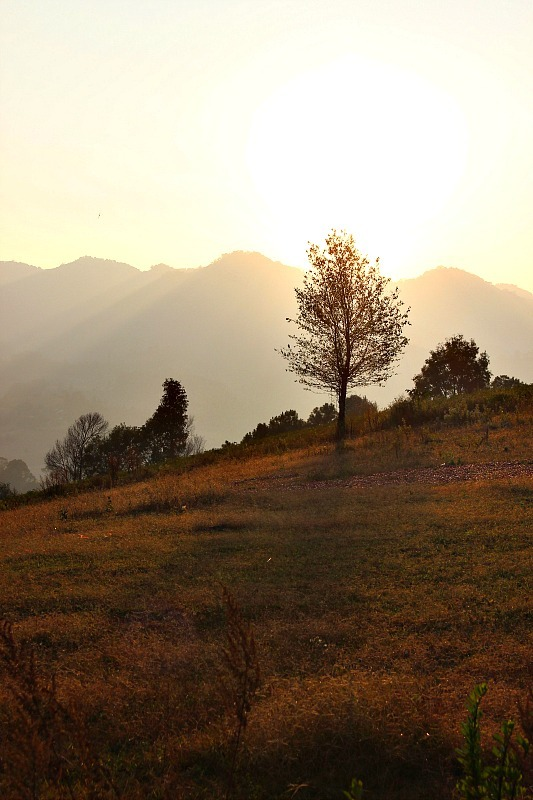 Sun setting behind the mountains during our Kalaw to Inle Lake trek