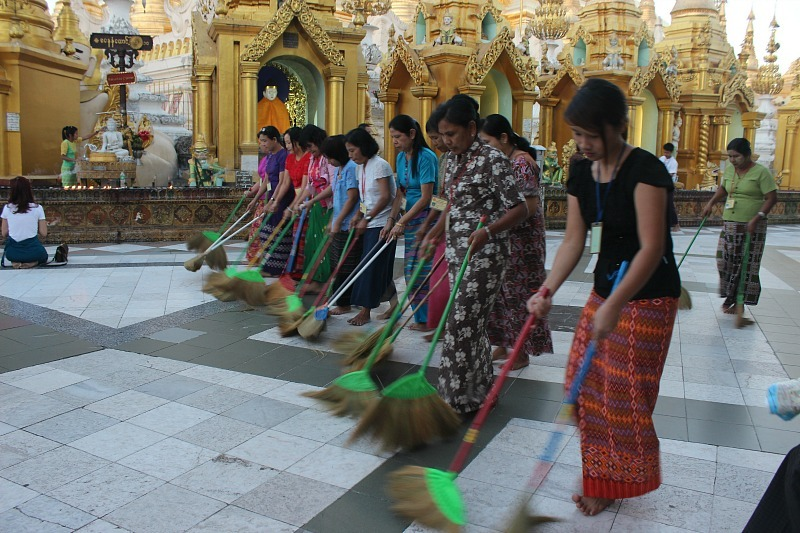 Sweeping Shwedagon Pagoda