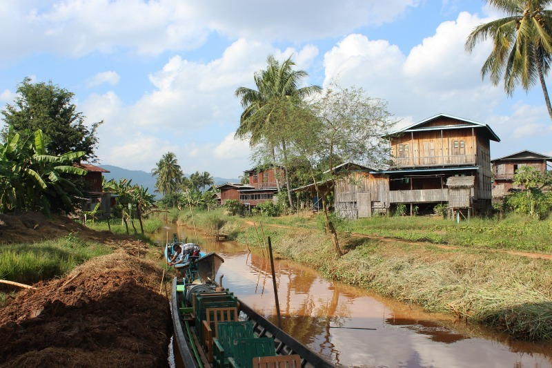 Village on tributary of Inle Lake - the end point of trekking in Myanmar