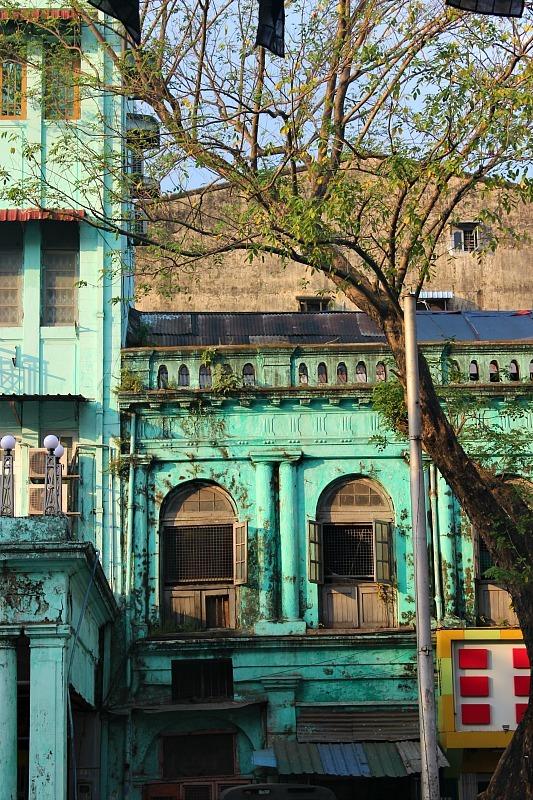 Yangon street facade