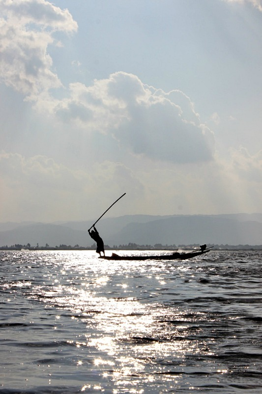 One of the best Inle Lake things to do is boating out to the fisherman on Inle Lake