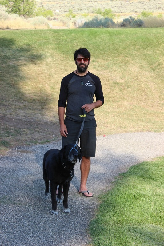 Toby walking Lexie during month 14 of digital nomad life - The World on my Necklace