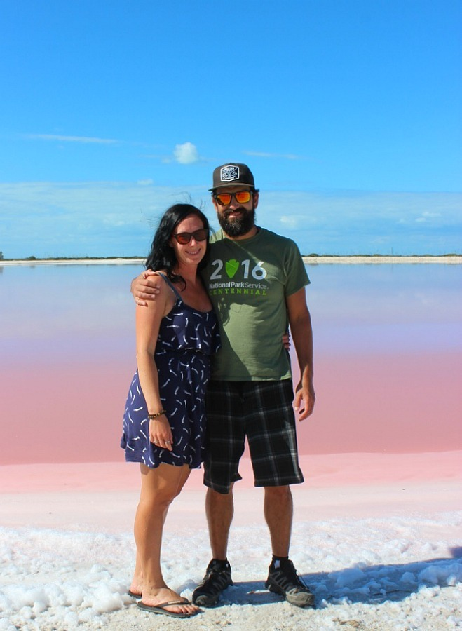 Toby and I at the pink lake in Mexico