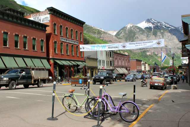 The beautiful main street in Telluride - the best mountain town in Colorado