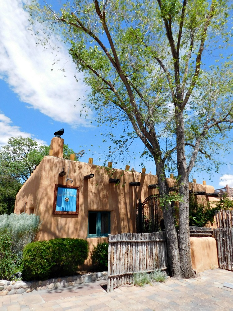 Adobe buildings on Canyon Road in Santa Fe New Mexico during month twenty four of Digital Nomad Life
