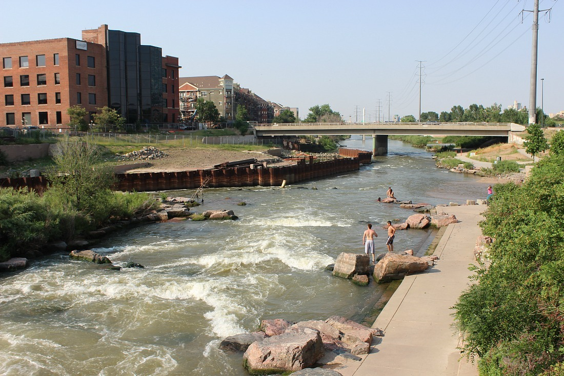 Swimming at Confluence Park in Denver - a must add to your 3 days in Denver itinerary during summer