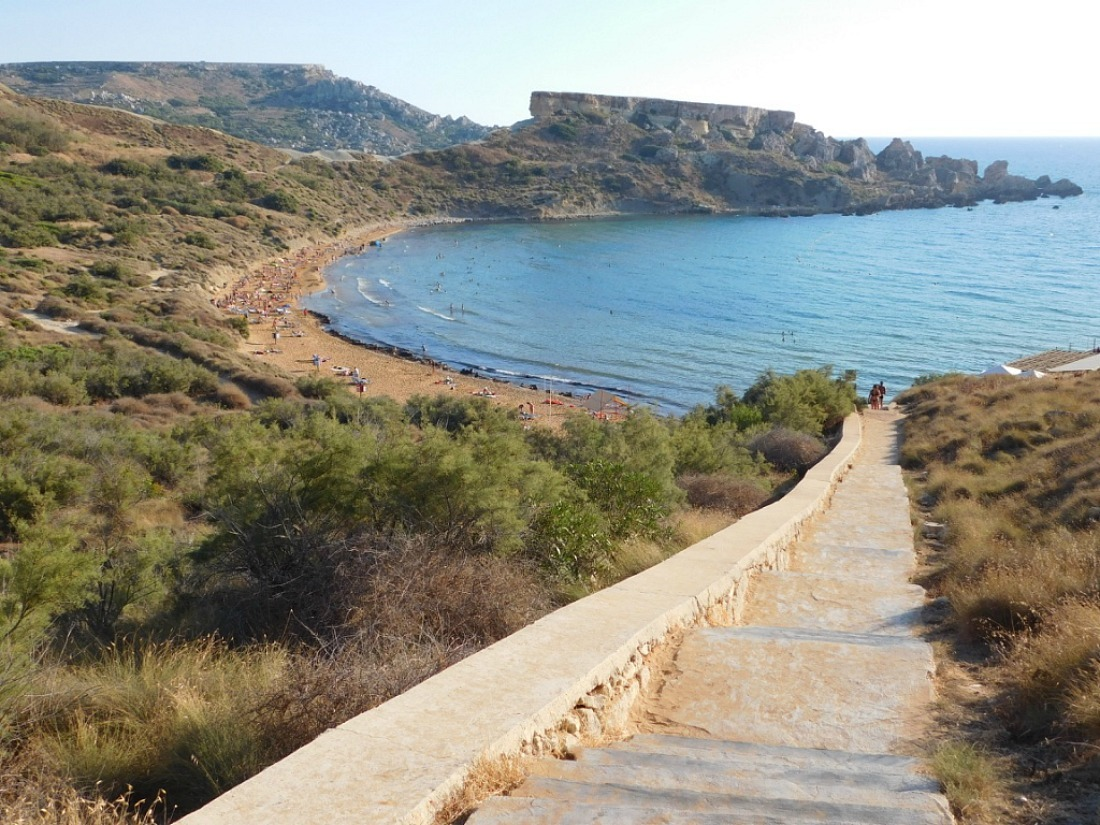 Ghan Tuffieha, one of the most beautiful beaches in Malta