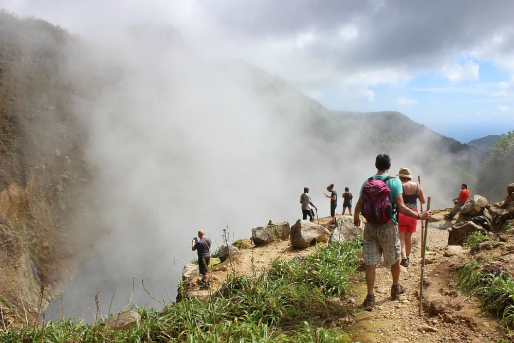 Arriving at the Boiling Lake in Dominica