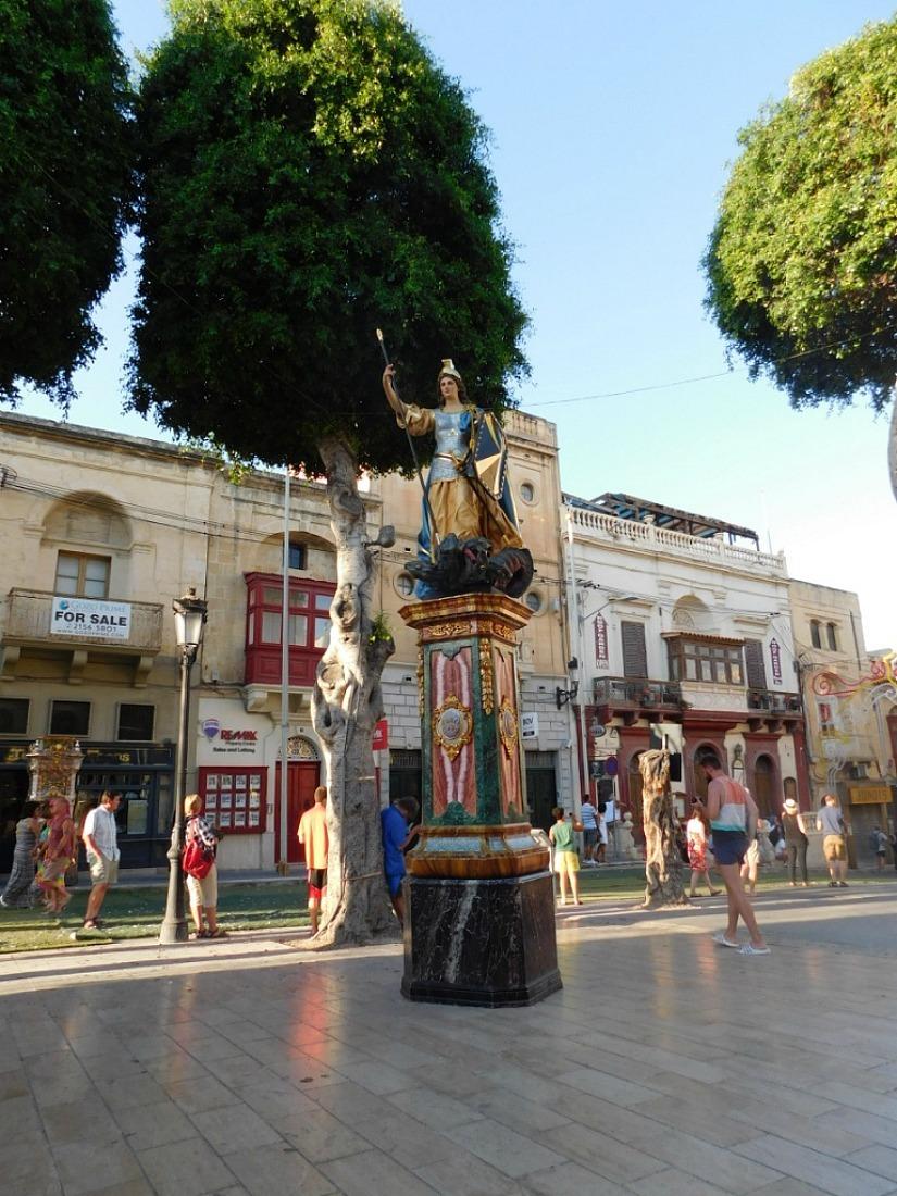 Plaza in Victoria, Gozo's capital city, Malta