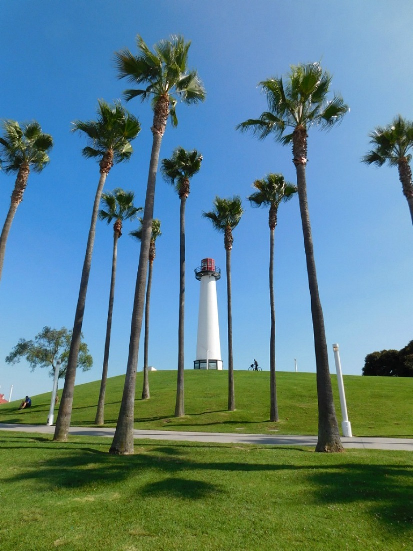 Lighthouse at Rainbow Marina in Long Beach during month 27 of digital nomad life