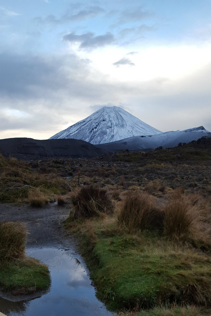 Seeing Mount Ngauruhoe on the morning of day three of the Tongariro Northern Circuit