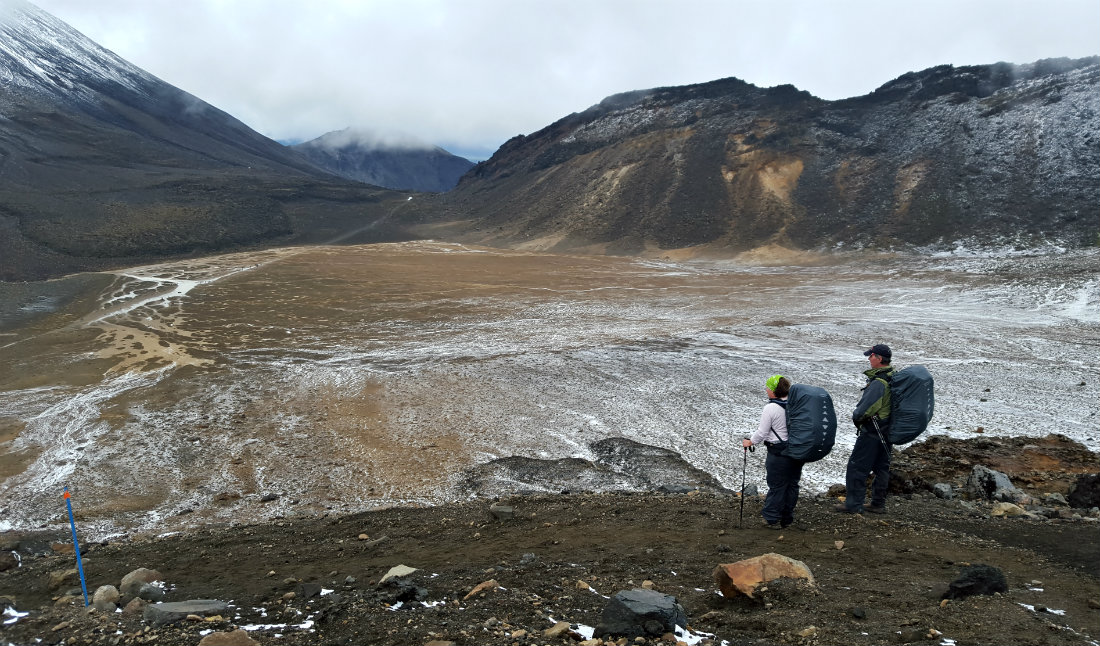Looking out over the South Crater on the Tongariro Northern Circuit
